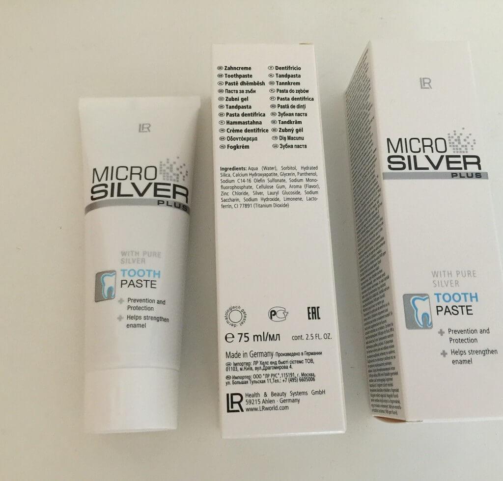 LR Microsilver Plus Zahncreme Verpackung vorn hinten