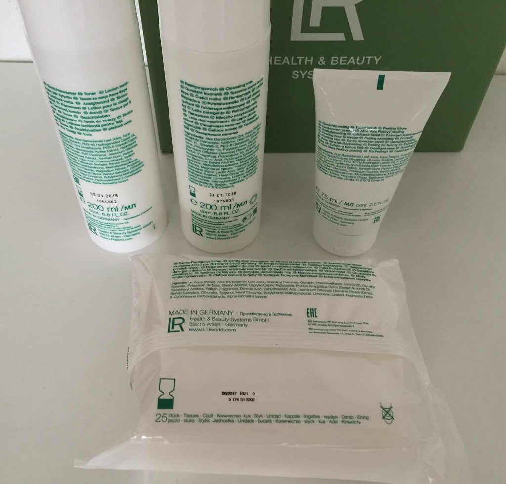 LR Aloe Vera Reinigungs Set Produkte hinten